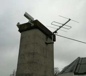 The Dunsink NEMETODE (Watec) cameras and radio antenna in early 2017.